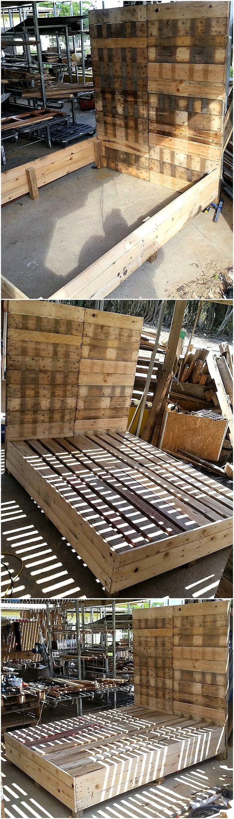 giant pallet bed with headboard frame