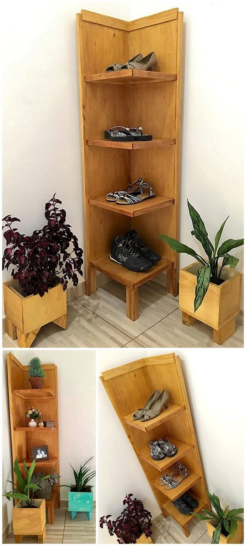 pallet corner shoe rack with planters
