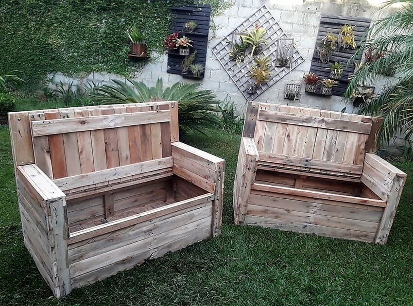 pallet garden furniture with storage