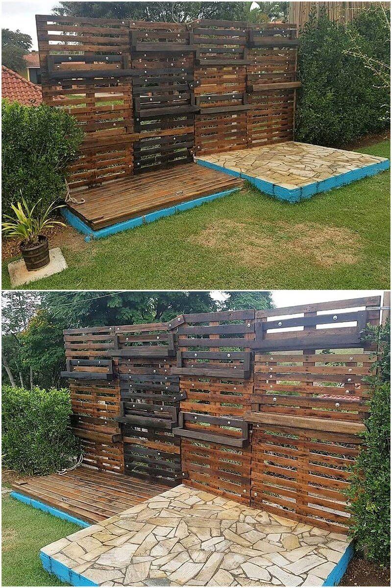 pallet garden terrace plan