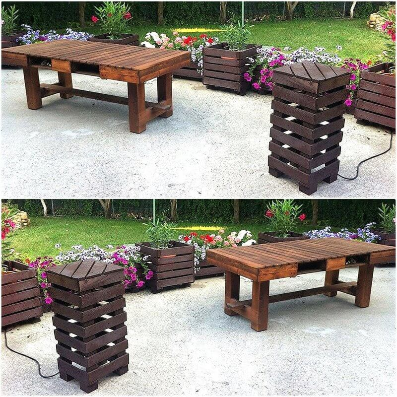pallet planter and patio furniture