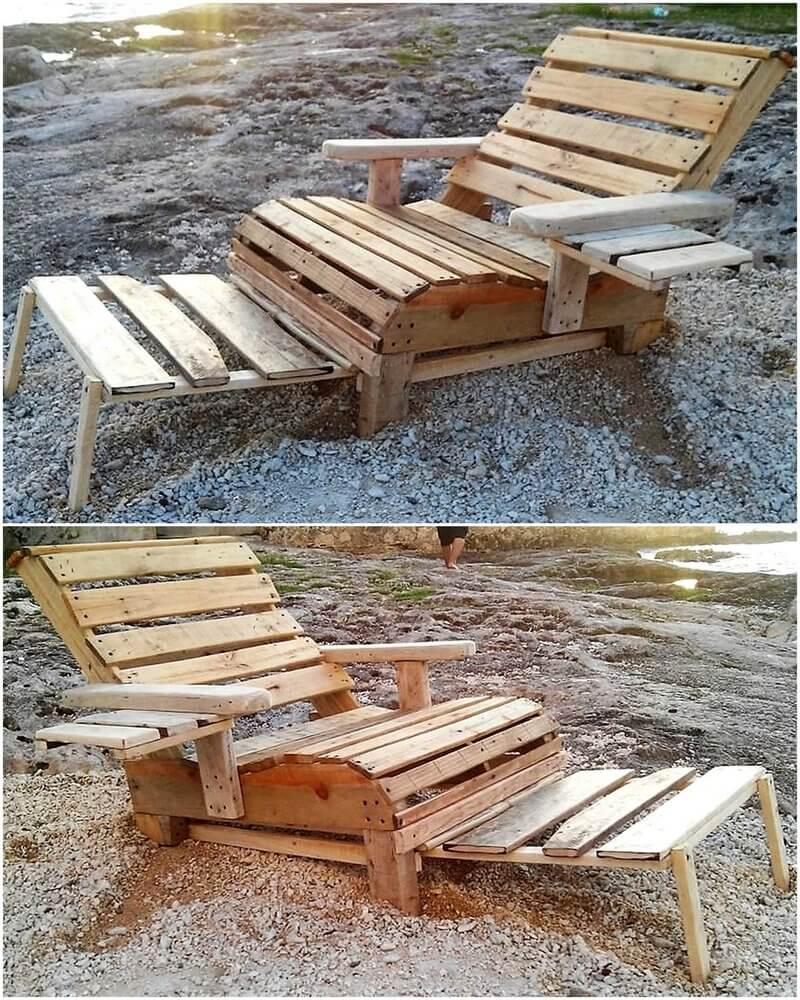 pallet rustic sun lounger