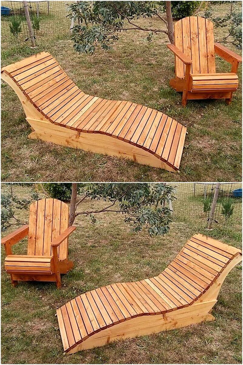 pallet sun lounger with chair