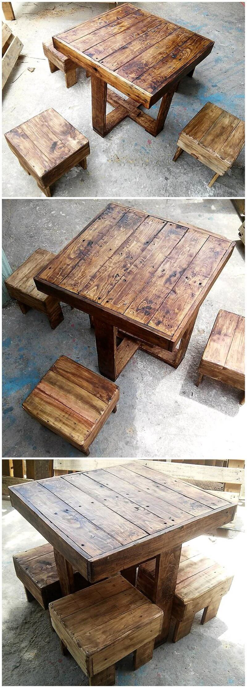 pallet table with stools