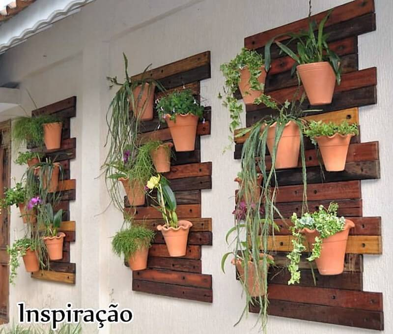 pallet verticle wall pots stand