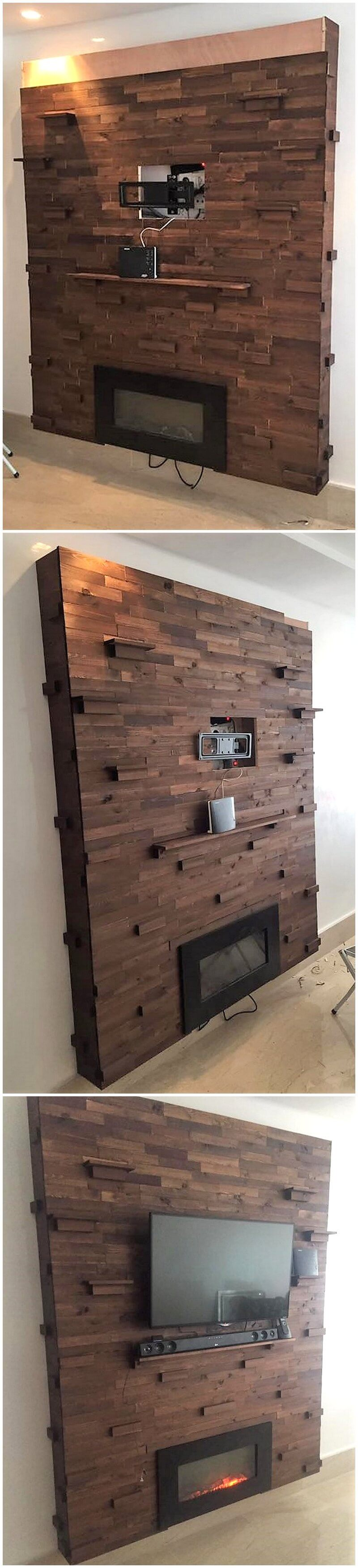 pallet wall art for firebit and lcd