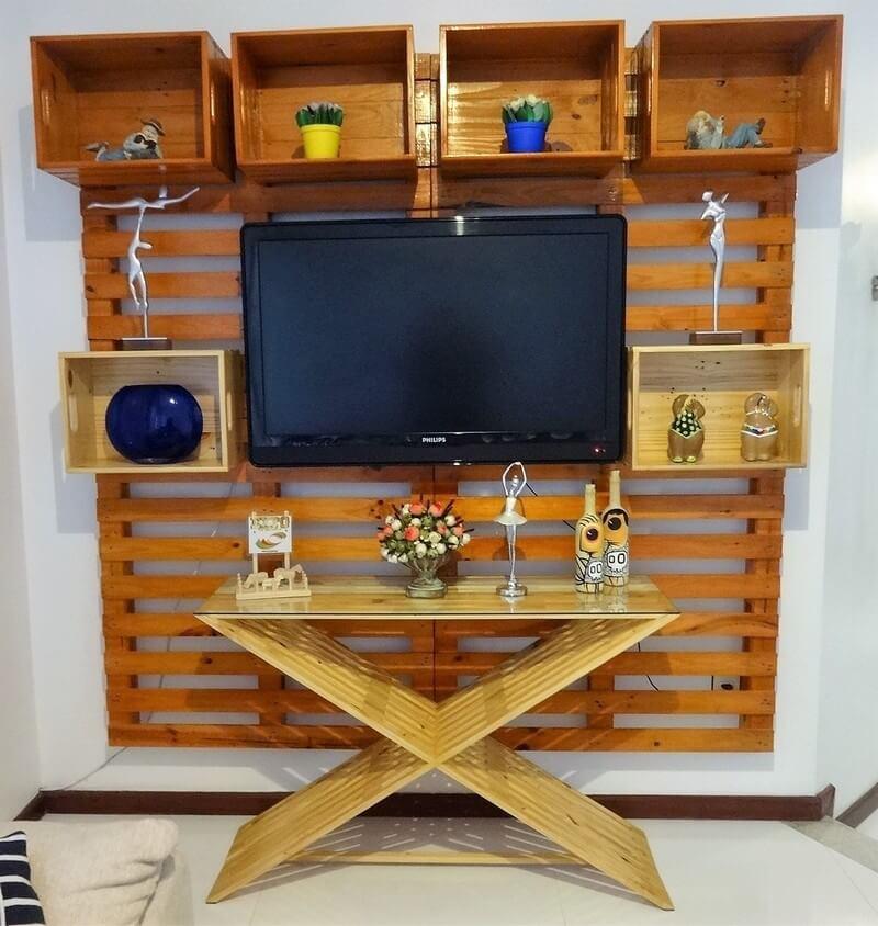 pallet wall tv stand art