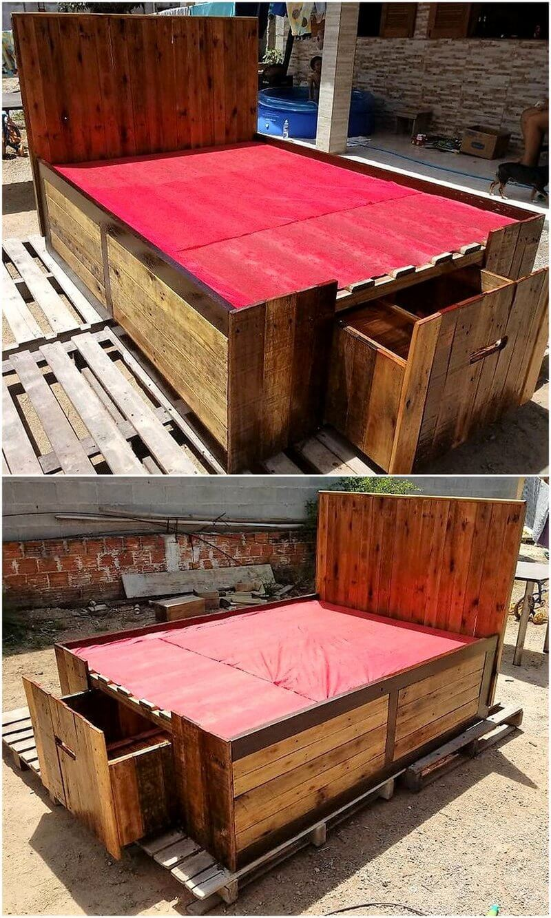 pallet wood giant bed with drawers