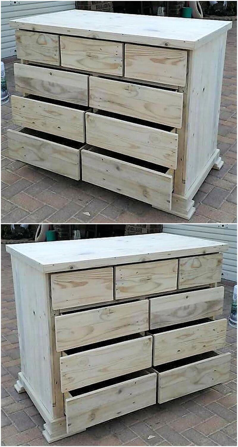 pallets made chest of drawers