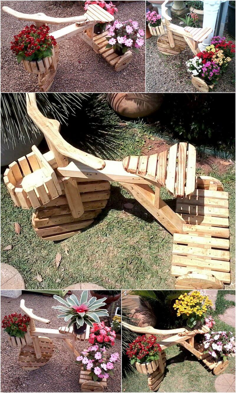 pallets made garden planter bicycle