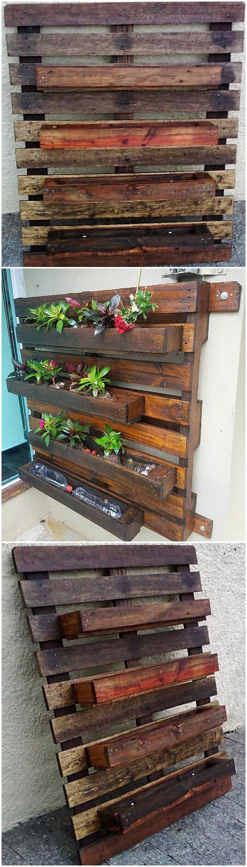 pallets wooden wall planter idea