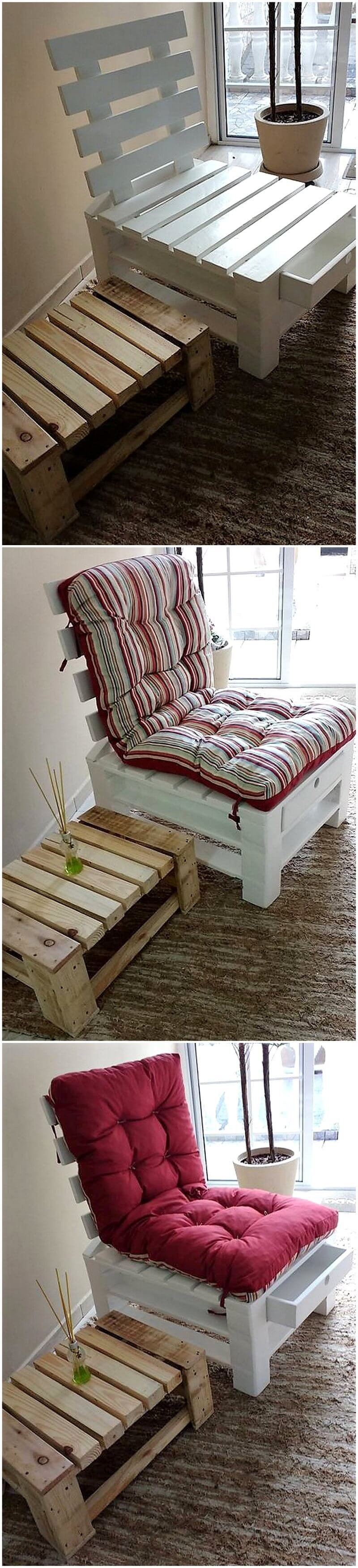 recycled pallet chair with storage drawer