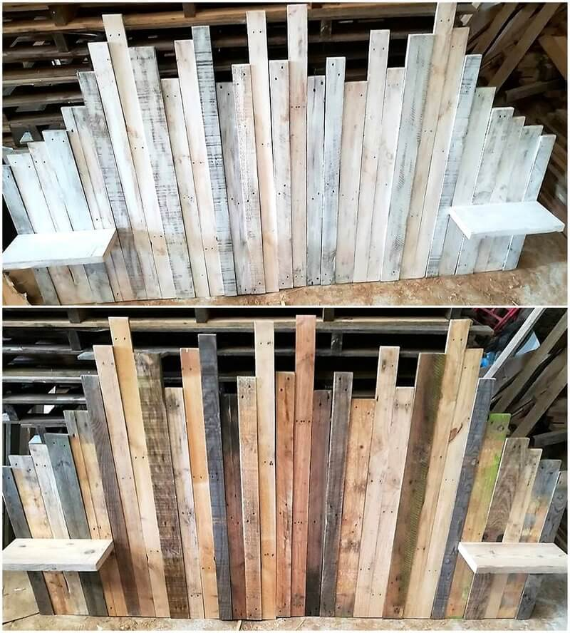 recycled pallet wood headboard