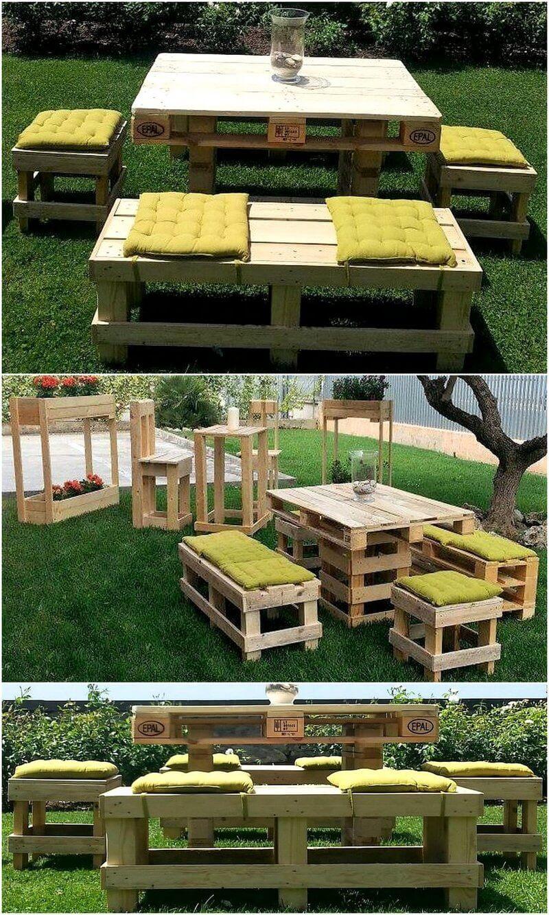 reused pallet garden furniture set