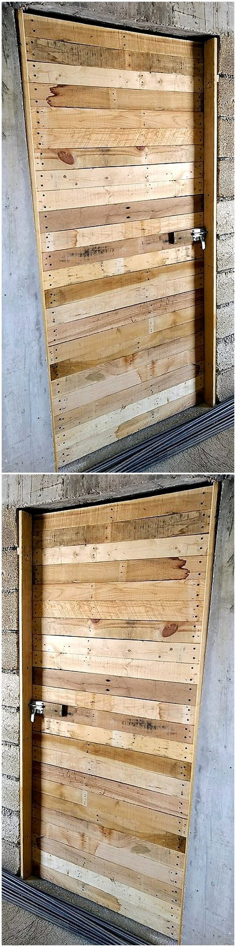 reused pallet wood door