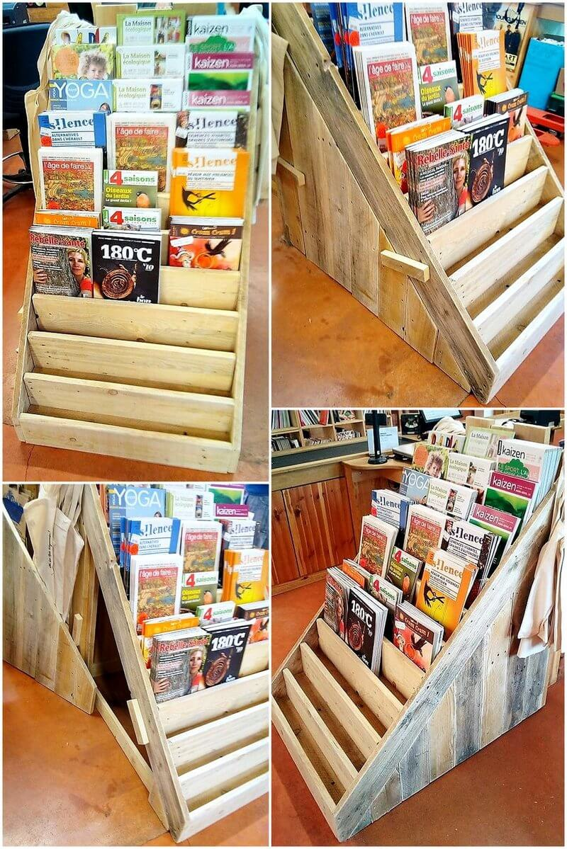 wood pallet book rack