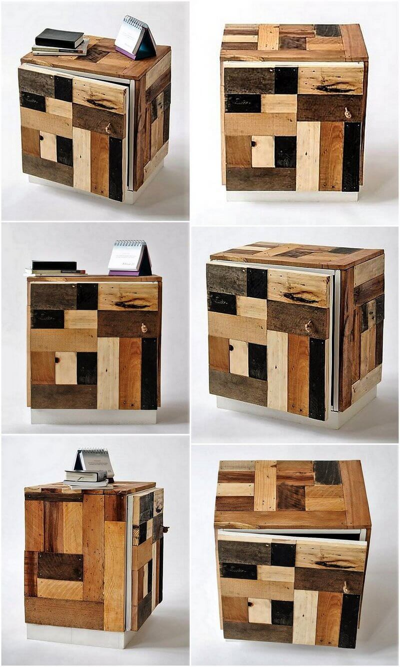 wood pallet night stand idea