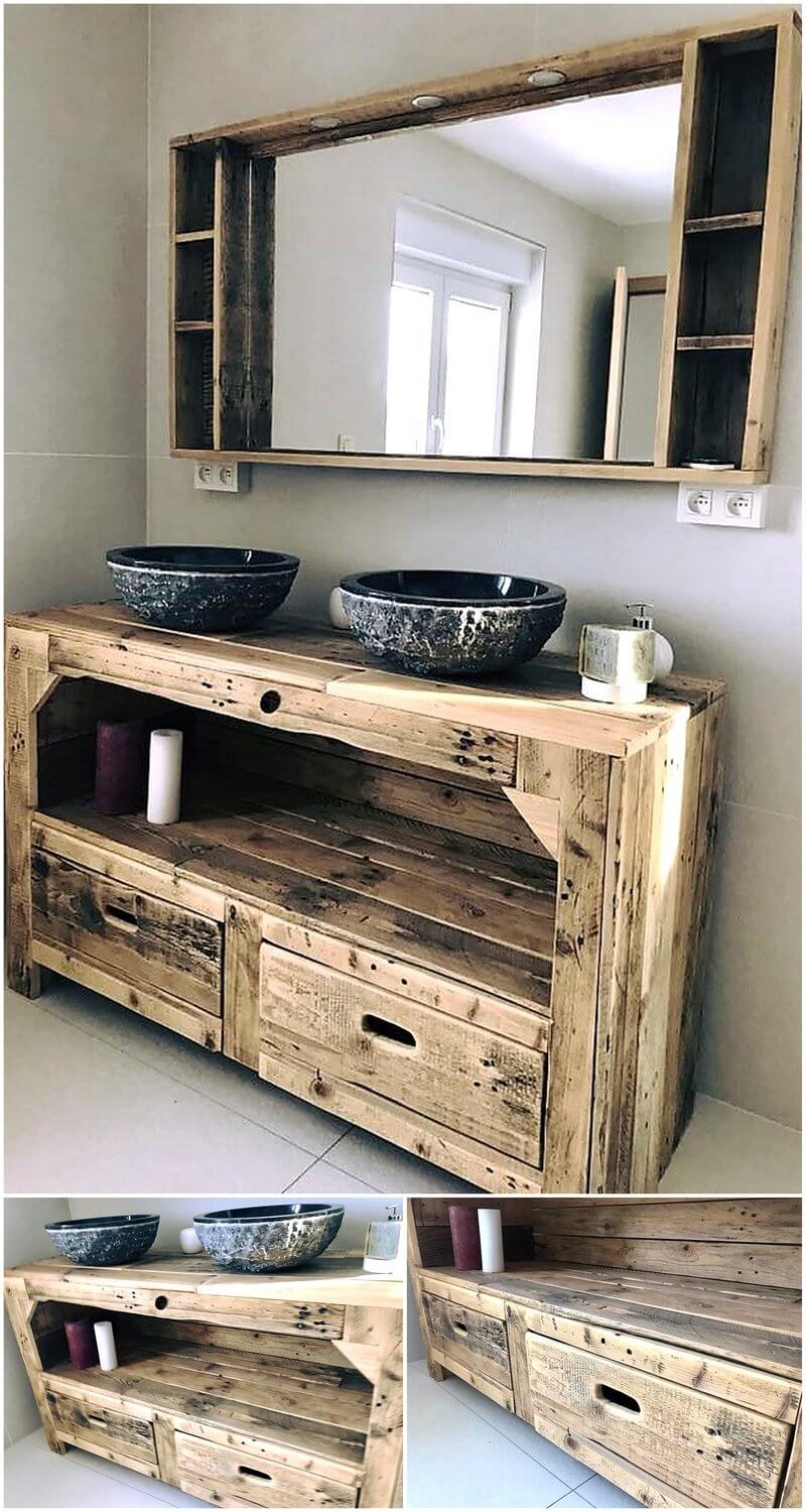 wooden pallet rustic mirror and basic plan